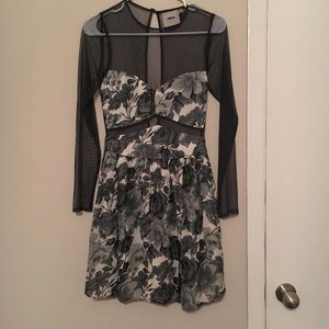 ASOS mesh long sleeve floral dress